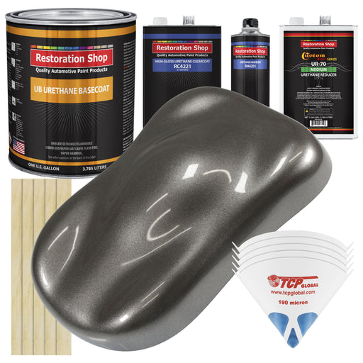 Tunnel Ram Gray Metallic - Urethane Basecoat with Clearcoat Auto Paint - Complete Medium Gallon Paint Kit - Professional High Gloss Automotive, Car, Truck Coating