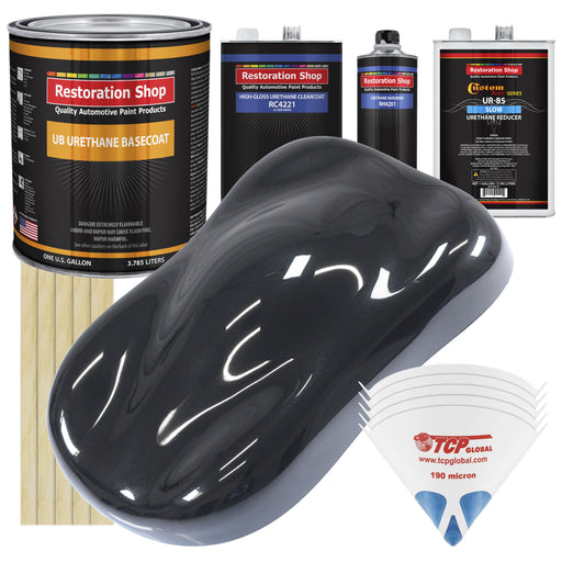 Phantom Black Pearl - Urethane Basecoat with Clearcoat Auto Paint - Complete Slow Gallon Paint Kit - Professional High Gloss Automotive, Car, Truck Coating