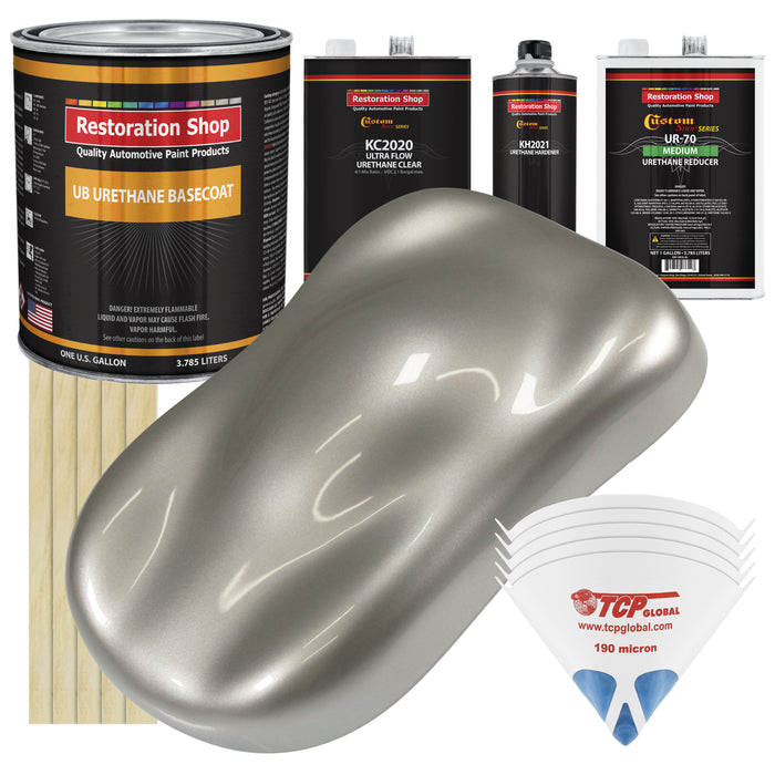 Bright Silver Metallic - Urethane Basecoat with Premium Clearcoat Auto Paint - Complete Medium Gallon Paint Kit - Professional High Gloss Automotive Coating
