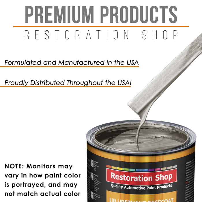 Bright Silver Metallic - Urethane Basecoat with Premium Clearcoat Auto Paint - Complete Slow Gallon Paint Kit - Professional High Gloss Automotive Coating