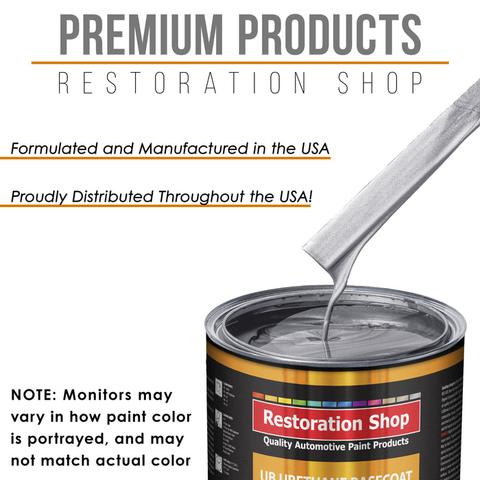 Iridium Silver Metallic - Urethane Basecoat with Clearcoat Auto Paint - Complete Medium Gallon Paint Kit - Professional High Gloss Automotive, Car, Truck Coating