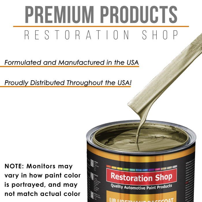 Antique Gold Metallic - Urethane Basecoat with Premium Clearcoat Auto Paint - Complete Medium Quart Paint Kit - Professional High Gloss Automotive Coating