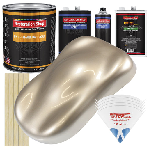 Cashmere Gold Metallic - Urethane Basecoat with Clearcoat Auto Paint - Complete Medium Gallon Paint Kit - Professional High Gloss Automotive, Car, Truck Coating