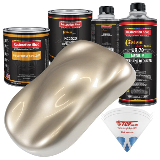 Cashmere Gold Metallic - Urethane Basecoat with Premium Clearcoat Auto Paint - Complete Medium Quart Paint Kit - Professional High Gloss Automotive Coating