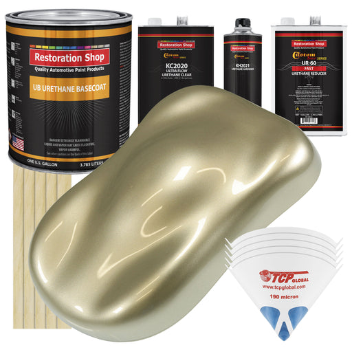 Champagne Gold Metallic - Urethane Basecoat with Premium Clearcoat Auto Paint - Complete Fast Gallon Paint Kit - Professional High Gloss Automotive Coating