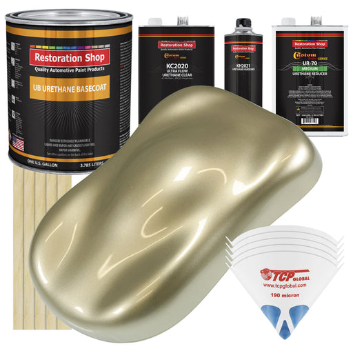 Champagne Gold Metallic - Urethane Basecoat with Premium Clearcoat Auto Paint - Complete Medium Gallon Paint Kit - Professional High Gloss Automotive Coating