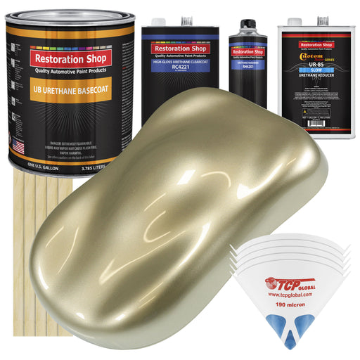Champagne Gold Metallic - Urethane Basecoat with Clearcoat Auto Paint - Complete Slow Gallon Paint Kit - Professional High Gloss Automotive, Car, Truck Coating