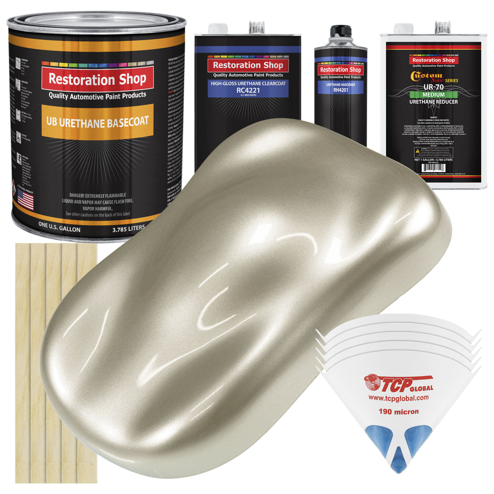 Gold Mist Metallic - Urethane Basecoat with Clearcoat Auto Paint - Complete Medium Gallon Paint Kit - Professional High Gloss Automotive, Car, Truck Coating