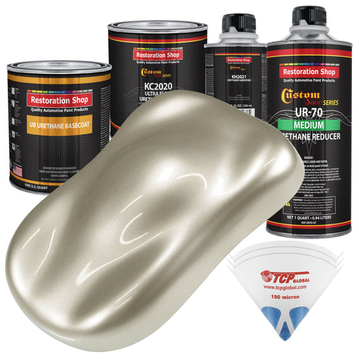 Gold Mist Metallic - Urethane Basecoat with Premium Clearcoat Auto Paint - Complete Medium Quart Paint Kit - Professional High Gloss Automotive Coating