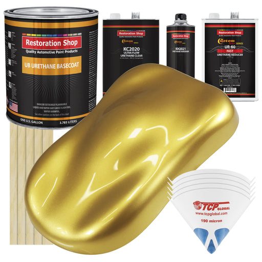 Anniversary Gold Metallic - Urethane Basecoat with Premium Clearcoat Auto Paint - Complete Fast Gallon Paint Kit - Professional High Gloss Automotive Coating