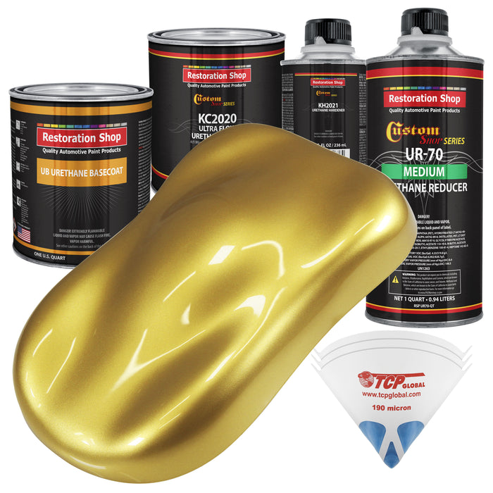 Anniversary Gold Metallic - Urethane Basecoat with Premium Clearcoat Auto Paint - Complete Medium Quart Paint Kit - Professional High Gloss Automotive Coating