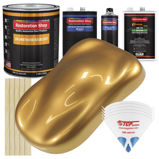 Autumn Gold Metallic - Urethane Basecoat with Clearcoat Auto Paint - Complete Medium Gallon Paint Kit - Professional High Gloss Automotive, Car, Truck Coating