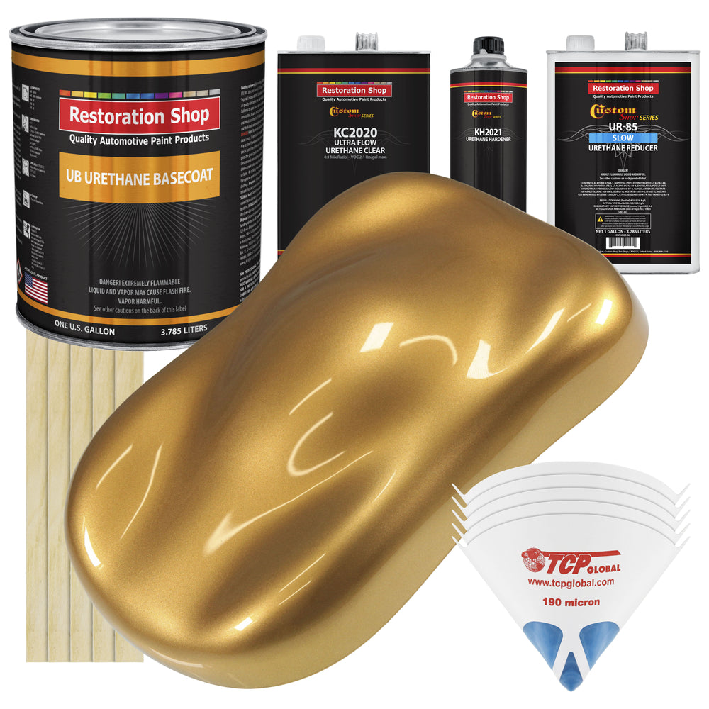 Autumn Gold Metallic - Urethane Basecoat with Premium Clearcoat Auto Paint - Complete Slow Gallon Paint Kit - Professional High Gloss Automotive Coating