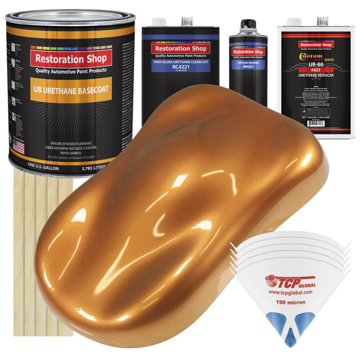 Sunburst Orange Metallic - Urethane Basecoat with Clearcoat Auto Paint - Complete Fast Gallon Paint Kit - Professional High Gloss Automotive, Car, Truck Coating