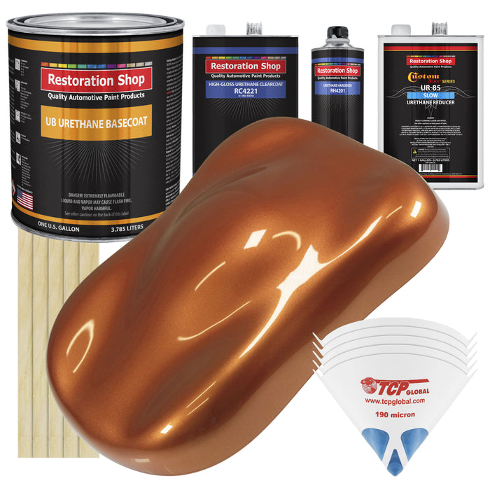 Malibu Sunset Orange Metallic - Urethane Basecoat with Clearcoat Auto Paint - Complete Slow Gallon Paint Kit - Professional High Gloss Automotive, Car, Truck Coating
