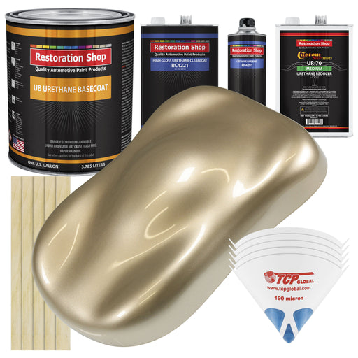 Driftwood Beige Metallic - Urethane Basecoat with Clearcoat Auto Paint - Complete Medium Gallon Paint Kit - Professional High Gloss Automotive, Car, Truck Coating