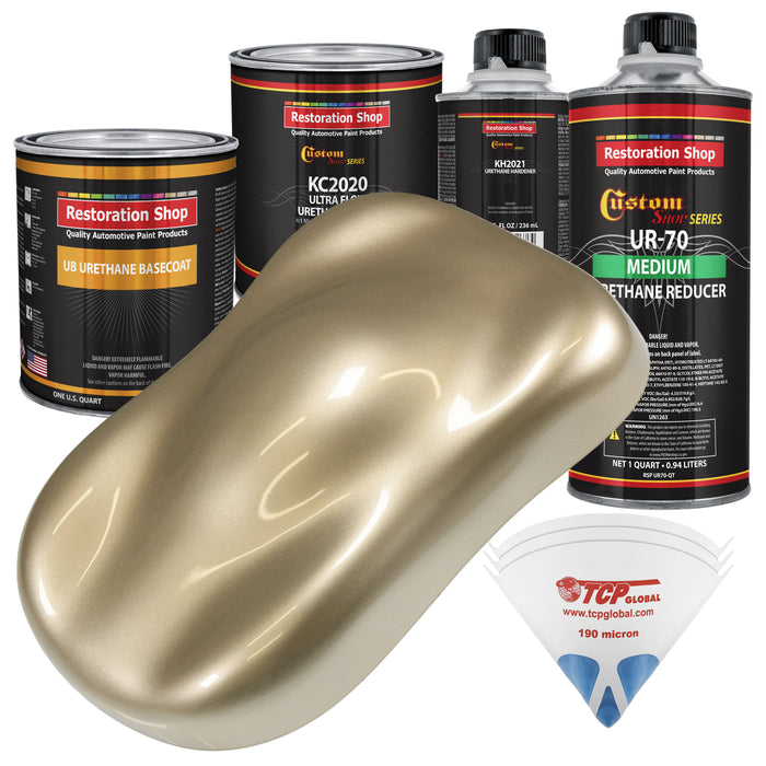 Driftwood Beige Metallic - Urethane Basecoat with Premium Clearcoat Auto Paint - Complete Medium Quart Paint Kit - Professional High Gloss Automotive Coating