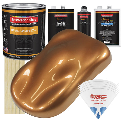 Ginger Metallic - Urethane Basecoat with Premium Clearcoat Auto Paint - Complete Slow Gallon Paint Kit - Professional High Gloss Automotive Coating