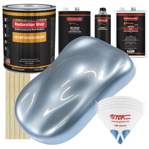 Glacier Blue Metallic - Urethane Basecoat with Premium Clearcoat Auto Paint - Complete Fast Gallon Paint Kit - Professional High Gloss Automotive Coating