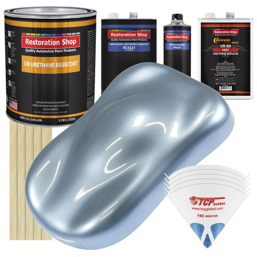 Glacier Blue Metallic - Urethane Basecoat with Clearcoat Auto Paint - Complete Fast Gallon Paint Kit - Professional High Gloss Automotive, Car, Truck Coating