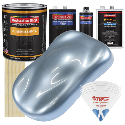 Glacier Blue Metallic - Urethane Basecoat with Clearcoat Auto Paint - Complete Slow Gallon Paint Kit - Professional High Gloss Automotive, Car, Truck Coating