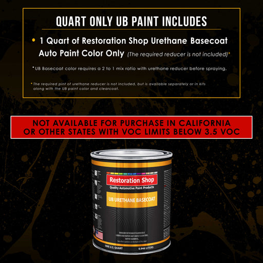 Glacier Blue Metallic - Urethane Basecoat Auto Paint - Quart Paint Color Only - Professional High Gloss Automotive, Car, Truck Coating