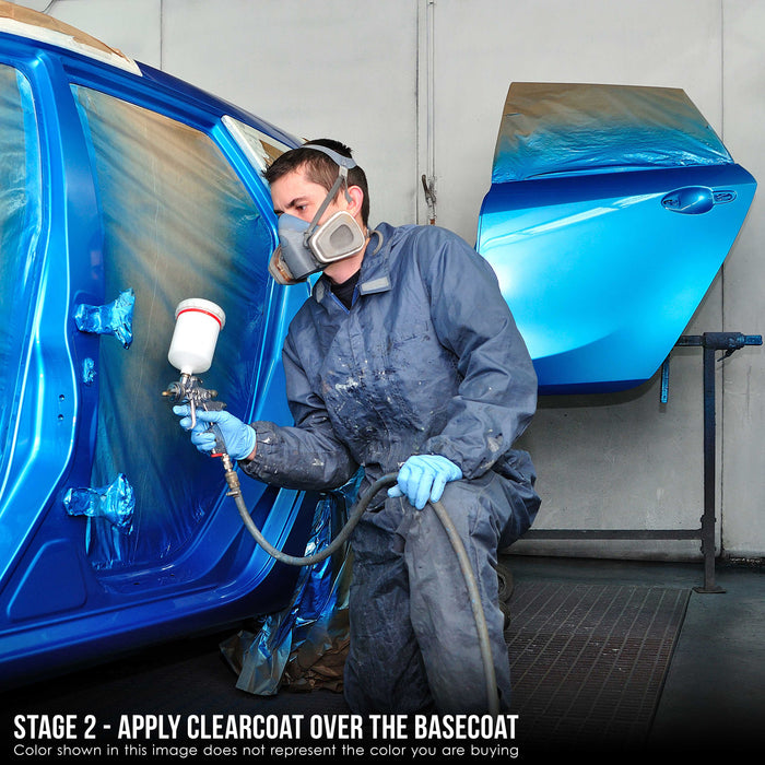 Sonic Blue Metallic - Urethane Basecoat with Premium Clearcoat Auto Paint - Complete Slow Gallon Paint Kit - Professional High Gloss Automotive Coating
