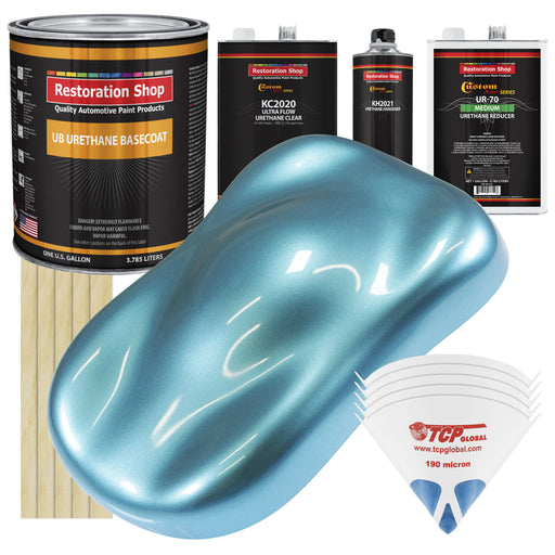 Azure Blue Metallic - Urethane Basecoat with Premium Clearcoat Auto Paint - Complete Medium Gallon Paint Kit - Professional High Gloss Automotive Coating