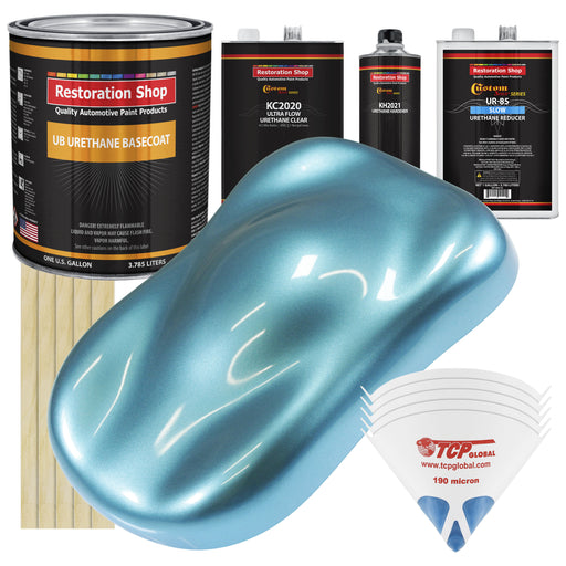Azure Blue Metallic - Urethane Basecoat with Premium Clearcoat Auto Paint - Complete Slow Gallon Paint Kit - Professional High Gloss Automotive Coating