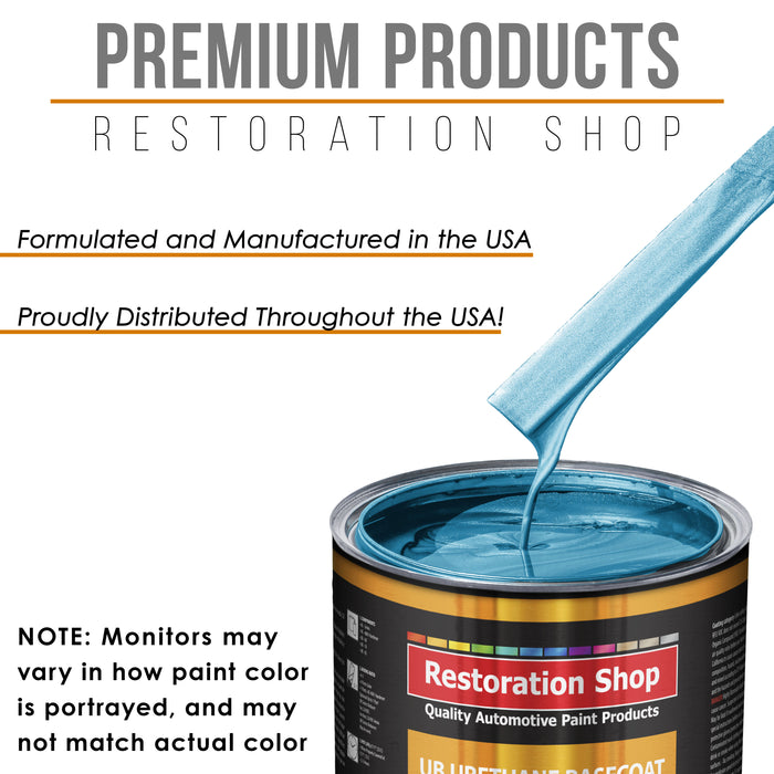 Electric Blue Metallic - Urethane Basecoat with Premium Clearcoat Auto Paint - Complete Medium Gallon Paint Kit - Professional High Gloss Automotive Coating