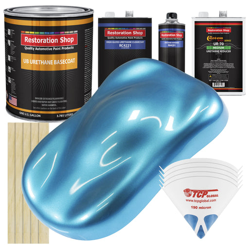 Electric Blue Metallic - Urethane Basecoat with Clearcoat Auto Paint - Complete Medium Gallon Paint Kit - Professional High Gloss Automotive, Car, Truck Coating