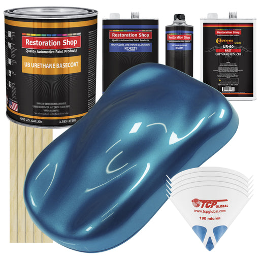 Cobra Blue Metallic - Urethane Basecoat with Clearcoat Auto Paint - Complete Fast Gallon Paint Kit - Professional High Gloss Automotive, Car, Truck Coating