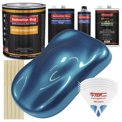 Cobra Blue Metallic - Urethane Basecoat with Clearcoat Auto Paint - Complete Medium Gallon Paint Kit - Professional High Gloss Automotive, Car, Truck Coating