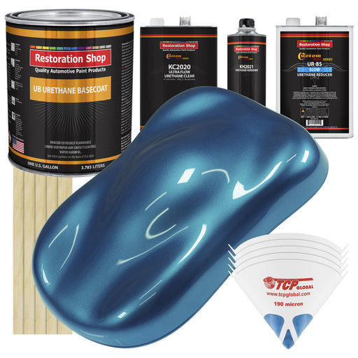 Cobra Blue Metallic - Urethane Basecoat with Premium Clearcoat Auto Paint - Complete Slow Gallon Paint Kit - Professional High Gloss Automotive Coating