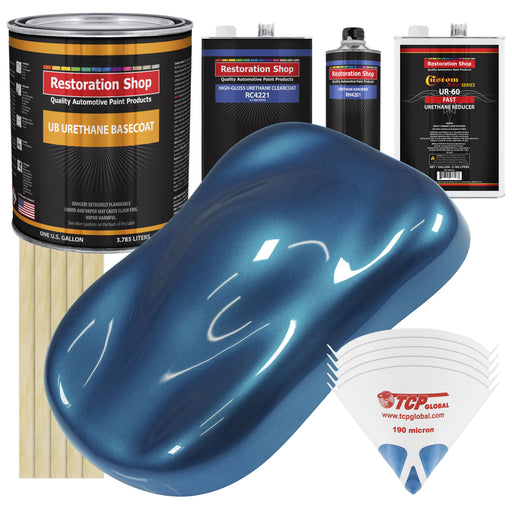 Viper Blue Metallic - Urethane Basecoat with Clearcoat Auto Paint - Complete Fast Gallon Paint Kit - Professional High Gloss Automotive, Car, Truck Coating