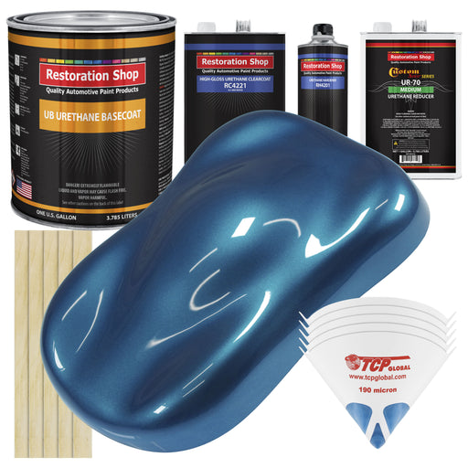 Viper Blue Metallic - Urethane Basecoat with Clearcoat Auto Paint - Complete Medium Gallon Paint Kit - Professional High Gloss Automotive, Car, Truck Coating