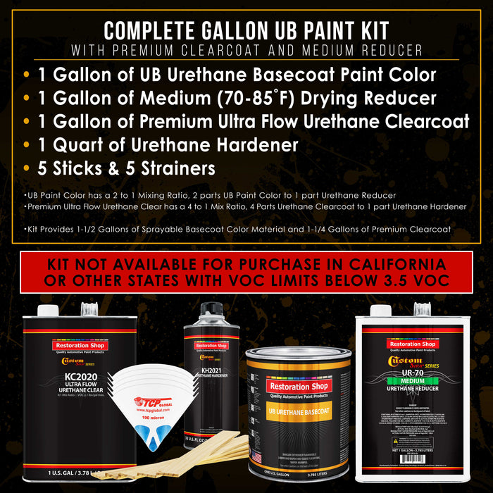 Indigo Blue Metallic - Urethane Basecoat with Premium Clearcoat Auto Paint - Complete Medium Gallon Paint Kit - Professional High Gloss Automotive Coating