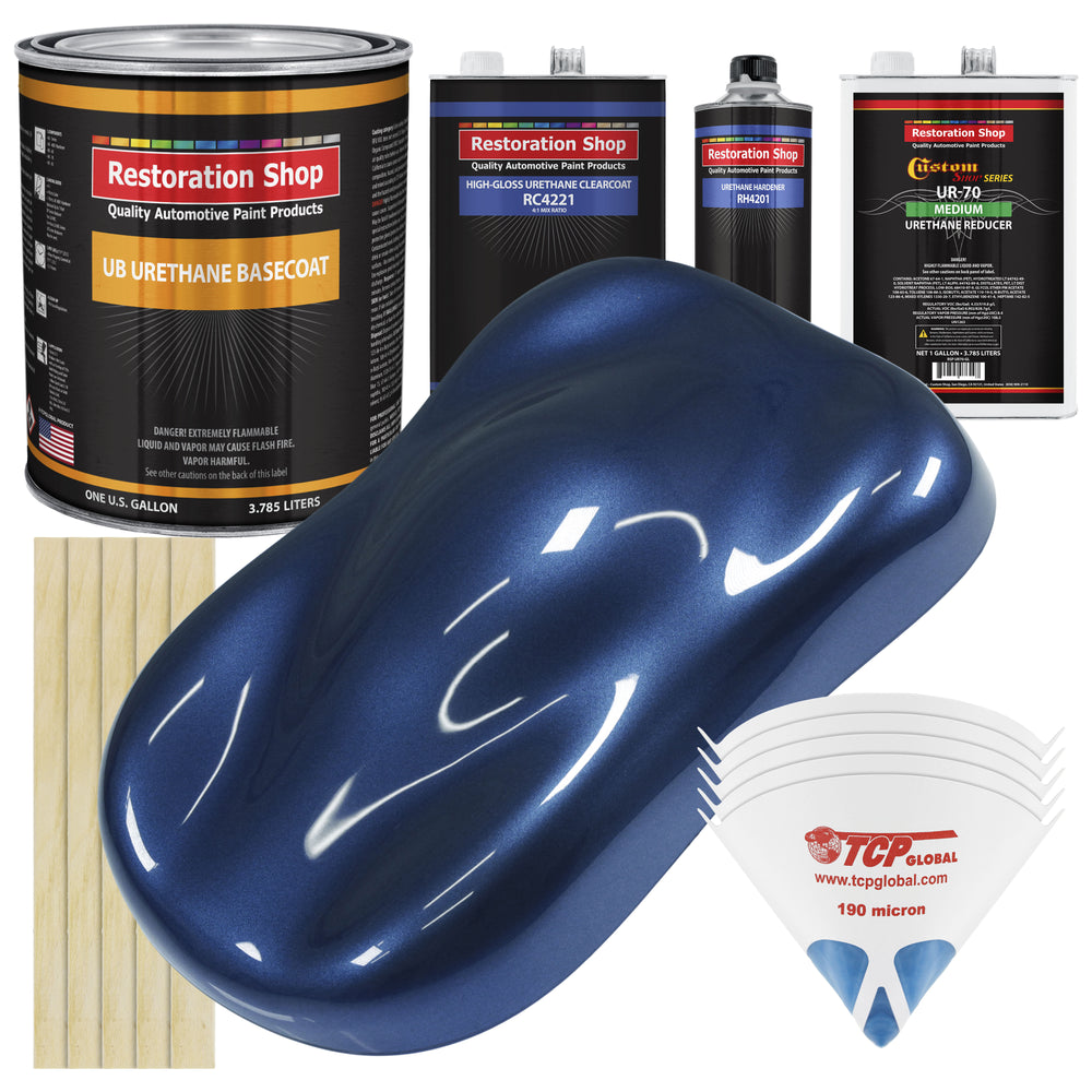 Sapphire Blue Metallic - Urethane Basecoat with Clearcoat Auto Paint - Complete Medium Gallon Paint Kit - Professional High Gloss Automotive, Car, Truck Coating