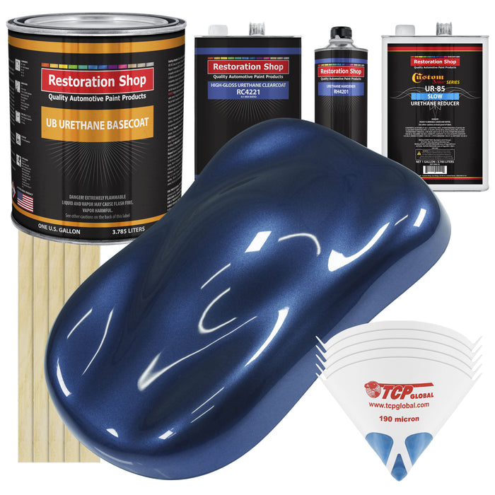Sapphire Blue Metallic - Urethane Basecoat with Clearcoat Auto Paint - Complete Slow Gallon Paint Kit - Professional High Gloss Automotive, Car, Truck Coating