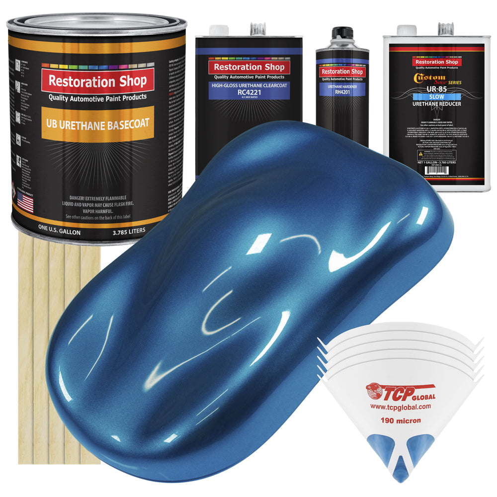 Cruise Night Blue Metallic - Urethane Basecoat with Clearcoat Auto Paint - Complete Slow Gallon Paint Kit - Professional High Gloss Automotive, Car, Truck Coating
