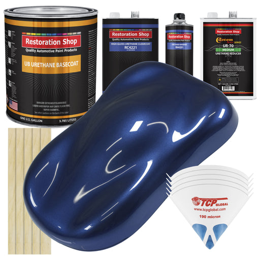 Daytona Blue Metallic - Urethane Basecoat with Clearcoat Auto Paint - Complete Medium Gallon Paint Kit - Professional High Gloss Automotive, Car, Truck Coating