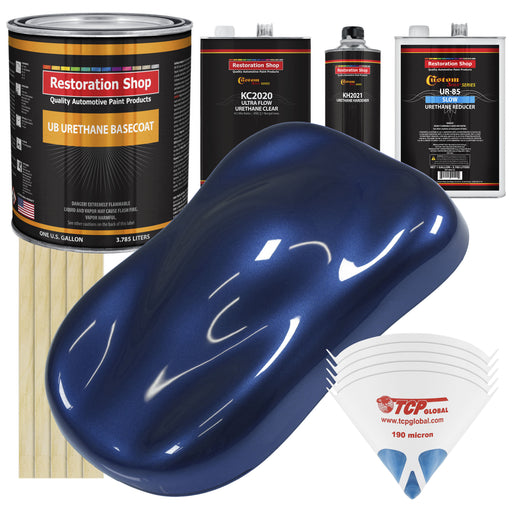 Daytona Blue Metallic - Urethane Basecoat with Premium Clearcoat Auto Paint - Complete Slow Gallon Paint Kit - Professional High Gloss Automotive Coating