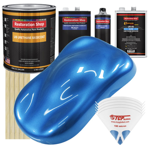 Fiji Blue Metallic - Urethane Basecoat with Clearcoat Auto Paint - Complete Slow Gallon Paint Kit - Professional High Gloss Automotive, Car, Truck Coating