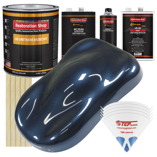 Moonlight Drive Blue Metallic - Urethane Basecoat with Premium Clearcoat Auto Paint - Complete Fast Gallon Paint Kit - Professional High Gloss Automotive Coating