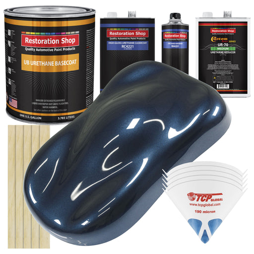 Moonlight Drive Blue Metallic - Urethane Basecoat with Clearcoat Auto Paint - Complete Medium Gallon Paint Kit - Professional High Gloss Automotive, Car, Truck Coating
