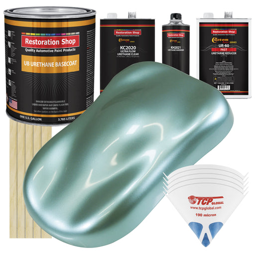 Silver Aqua Metallic - Urethane Basecoat with Premium Clearcoat Auto Paint - Complete Fast Gallon Paint Kit - Professional High Gloss Automotive Coating