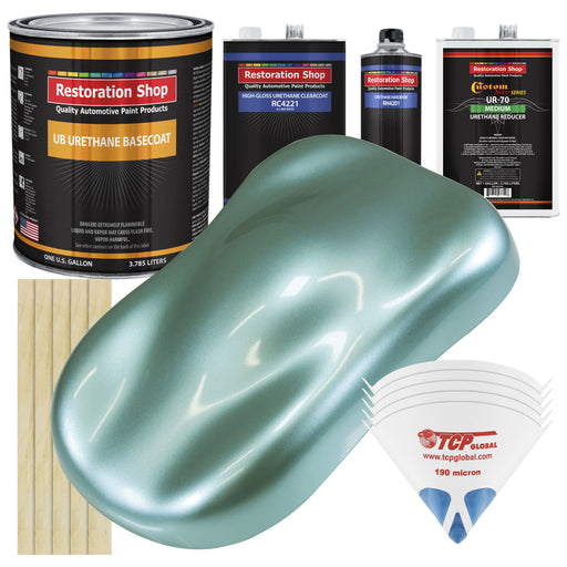 Silver Aqua Metallic - Urethane Basecoat with Clearcoat Auto Paint - Complete Medium Gallon Paint Kit - Professional High Gloss Automotive, Car, Truck Coating