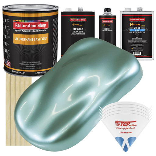 Silver Aqua Metallic - Urethane Basecoat with Premium Clearcoat Auto Paint - Complete Slow Gallon Paint Kit - Professional High Gloss Automotive Coating