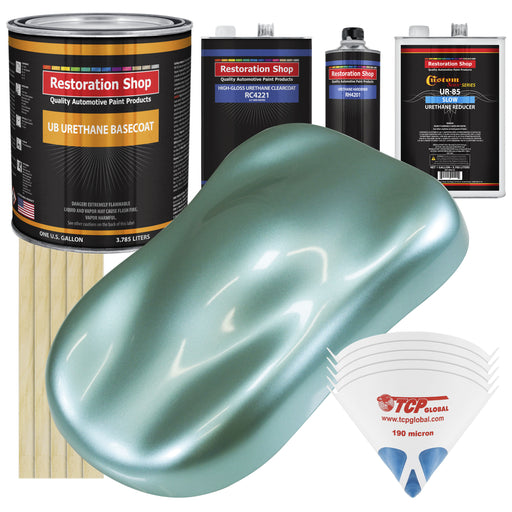 Silver Aqua Metallic - Urethane Basecoat with Clearcoat Auto Paint - Complete Slow Gallon Paint Kit - Professional High Gloss Automotive, Car, Truck Coating