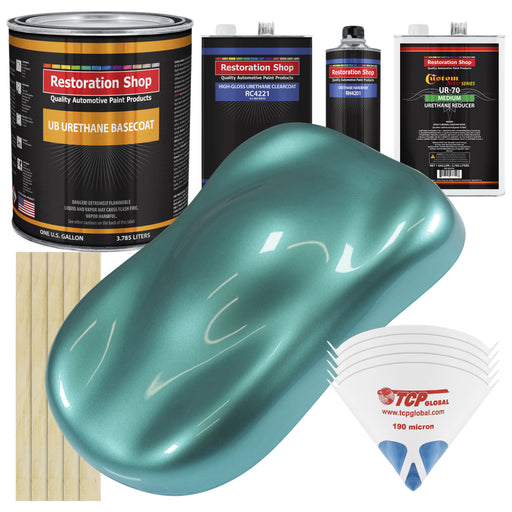 Gulfstream Aqua Metallic - Urethane Basecoat with Clearcoat Auto Paint - Complete Medium Gallon Paint Kit - Professional High Gloss Automotive, Car, Truck Coating